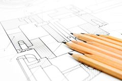 The drawing and pencils. Stock Image