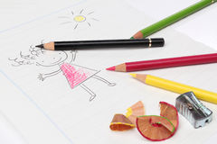 Drawing with pencils Royalty Free Stock Photo