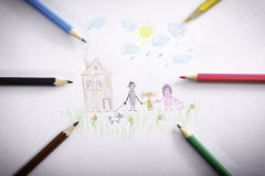 Drawing pencils family. Child`s drawing with pencils - happy family Stock Photography