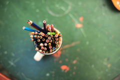 Drawing pencils. Penciles of many colors in the pot are waiting to draw Stock Photos