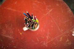 Drawing pencils. Penciles of many colors in the pot are waiting to draw Stock Photography