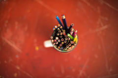Drawing pencils. Penciles of many colors in the pot are waiting to draw Stock Images