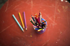 Drawing pencils. Penciles of many colors in the pot are waiting to draw Royalty Free Stock Photo