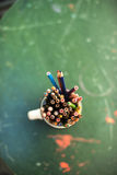 Drawing pencils. Penciles of many colors in the pot are waiting to draw Stock Image