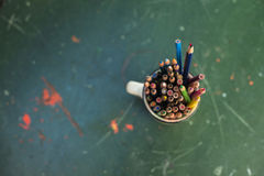 Drawing pencils. Penciles of many colors in the pot are waiting to draw Royalty Free Stock Image