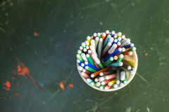 Drawing pencils. Penciles of many colors in the pot are waiting to draw Royalty Free Stock Photography
