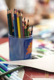 Drawing pencils. Penciles of many colors in the pot are waiting to draw Stock Photo