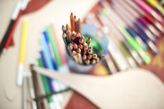 Drawing pencils. Penciles of many colors in the pot are waiting to draw Royalty Free Stock Photos