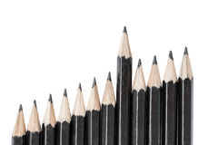 Drawing pencils in row Stock Photo
