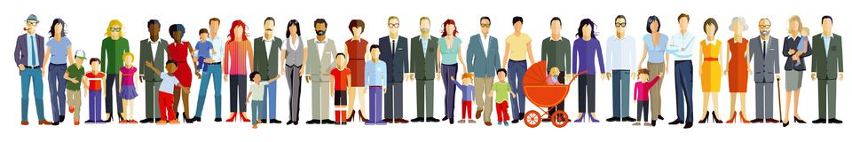 Drawing of people in line. A drawing of people with diverse ethnicities and ages in a line Royalty Free Illustration