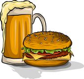 Lunchtime: beer and hamburger Royalty Free Stock Image