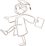 A drawing of a person graduating. A plain drawing of a person graduating on a white background Royalty Free Stock Image
