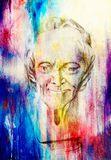 Drawing of philosopher voltaire sculpture on abstract background. Royalty Free Stock Photos