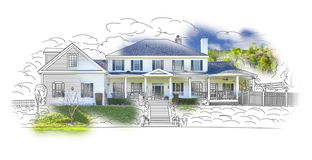 Drawing and Photo Combination of a House. Custom House Drawing and Photo Combination on White Background vector illustration