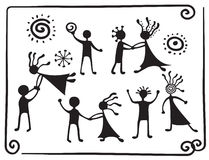 Drawing pictograms of dancing people stock illustration