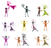Drawing pictograms of dancing people Royalty Free Stock Photo