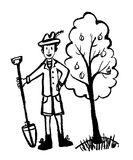Drawing picture of a man in a funny hat, jacket and shorts in the garden working with a shovel, sketch, doodle,comic v. Drawing picture of a man in a funny hat Royalty Free Stock Photos