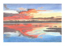 Drawing picture a summer sunset over the sea stock illustration