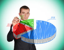 Drawing pie chart. Businessman with pen in hand drawing pie chart Stock Photos