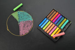 Drawing Pie chart with pastel on black sheet Royalty Free Stock Images