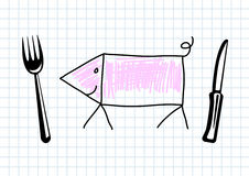 Drawing of pig Royalty Free Stock Photography