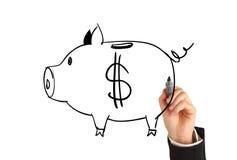 Drawing piggy bank Royalty Free Stock Image