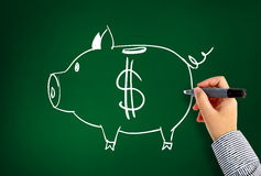 Drawing piggy bank. Drawing dollar piggy bank and Idea concept Royalty Free Stock Image