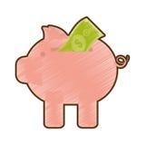 Drawing piggy money bill dollar. Vector illustration eps 10 Stock Photos