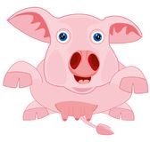 Drawing piglet on white background. Cartoon piglet on white background is insulated Royalty Free Stock Image