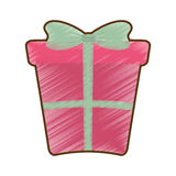 Drawing pink big gift box with bow. Vector illustration eps 10 Royalty Free Stock Photography