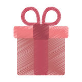 Drawing pink gift box with heart and bow. Vector illustration eps 10 Royalty Free Stock Images
