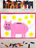 Drawing: Pink piggy bank and coins. Photo of colorful drawing: Pink piggy bank and coins Royalty Free Stock Photos