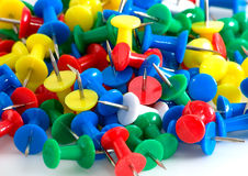 Drawing-pins. Many drawing-pins are photographed close-up on Stock Photo