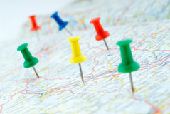 Free Drawing-pins Marking The Route Stock Images - 7041774