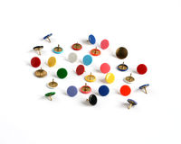 Drawing pins thumb tacks in many colors. Isolated on white background Royalty Free Stock Image