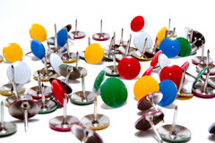 Drawing pins thumb tacks in many colors isolated. On white background Royalty Free Stock Image