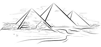 Drawing piramids and desert in Giza, Egypt Stock Photography