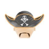 drawing pirate face beard hat with skull bones Stock Image