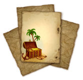 Drawing of pirate's treasure Royalty Free Stock Photos