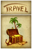 Drawing of pirate's treasure Stock Images