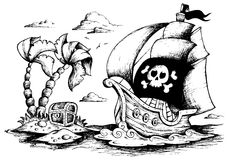 Drawing of pirate ship 1 Stock Photo