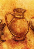 Drawing pitcher and wine carafe on paper. Original hand draw and sepia effect. Royalty Free Stock Photography