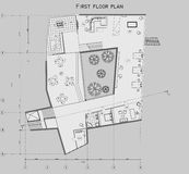The drawing of the plan of the first level of the private house. The drawing of the plan of the 1st level of the private house Royalty Free Stock Photography