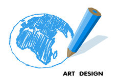 Drawing planet pencil. art design Royalty Free Stock Photo
