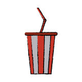 Drawing plastic cup soda with straw drink american football Stock Photo