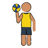 Drawing player volleyball yellow tshirt Royalty Free Stock Images