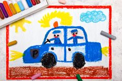 Drawing: police car and two policemen. Colorful hand drawing: police car and two policemen stock images