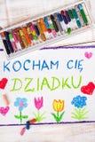 Drawing: Polish grandfather`s day card Stock Photo