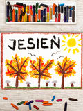 Drawing: Polish word AUTUMN and  trees with yellow, red and orange leaves Royalty Free Stock Images