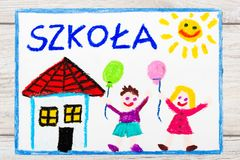 Drawing: Polish word SCHOOL, school building and happy children. First day at school. Royalty Free Stock Photo